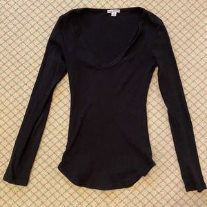 James Perse Black Fitted Top, XS